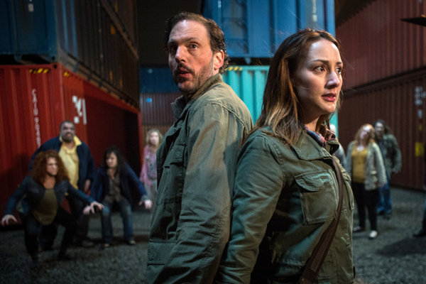 `Grimm` season finale: Monroe (Silas Weir Mitchell) and Rosalee Calvert (Bree Turner) prepare to battle zombies. (NBC photo by Scott Green)