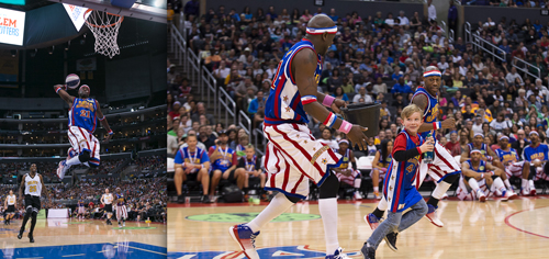 Special K Daley dunks and runs with Firefly Fisher and a young fan. (photos by Harlem Globetrotters International Inc.)