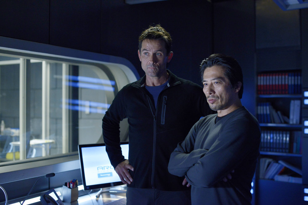 `Helix`: Pictured, from left, are Billy Campbell as Dr. Alan Farragut and Hiroyuki Sanada as Dr. Hiroshi Hataki. (Syfy photo by Philippe Bosse)