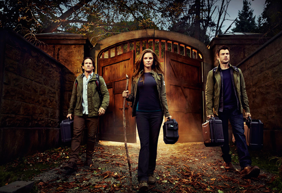 `Helix`: Pictured, from left, are Neil Napier as Dr. Peter Farragut, Jordan Hayes as Dr. Sarah Jordan and Matt Long as Dr. Kyle Sommer. (Syfy photos by Jeff Riedel)