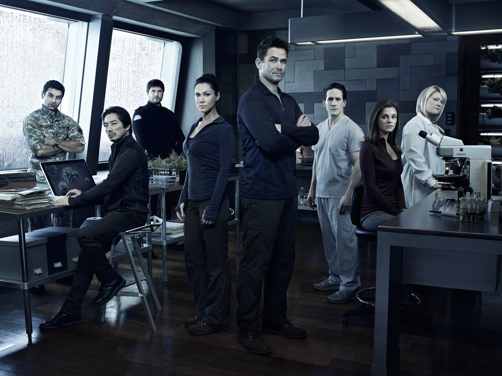 `Helix`: Pictured, from left: Mark Ghanime as Sergio Balleseros, Hiroyuki Sanada as Hiroshi Hataki, Meegwun Fairbrother as Daniel Aerov, Kyra Zagorsky as Julia Walker, Billy Campbell as Alan Farragut, Neil Napier as Peter Farragut, Jordan Hayes as Sarah Jordan and Catherine Lemieux as Doreen Boyle. (Syfy photo by Justin Stephens)