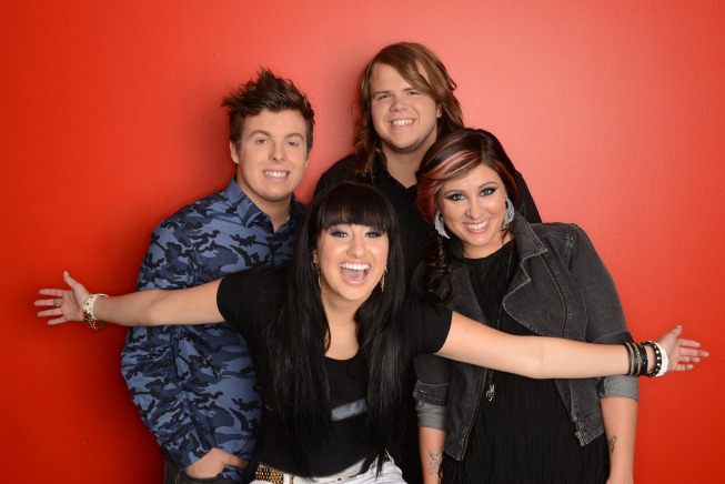 `American Idol` is one of the most tweeted-about shows on television. Pictured, from left, are the final four contestants, who will perform next Wednesday at 8 p.m. on FOX: Alex Preston, Jena Irene, Caleb Johnson and Jessica Meuse. (FOX photo by Michael Becker/copyright 2014 FOX Broadcasting)