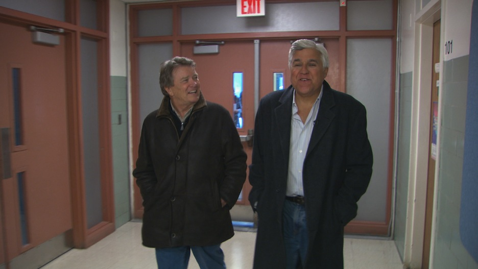 Jay Leno, right, speaks with Steve Croft on `60 Minutes.` (CBS photo)