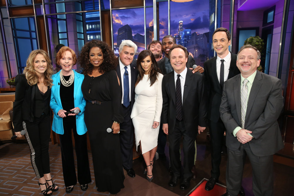 `The Tonight Show with Jay Leno`: Pictured, from left: Sheryl Crow, Carol Burnett, Oprah Winfrey, host Jay Leno, Kim Kardashian, Jack Black, Chris Paul, Billy Crystal, Jim Parsons and composer Marc Shaiman on Feb. 6. (NBC photo by Chris Haston)
