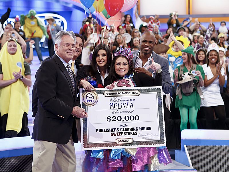 Melissa Duchaine of Brandon, Fla., is the winner of $20,000. See how she won when Publishers Clearing House visits `Let's Make A Deal` for a special week of giveaways airing May 7 (check local listings) on CBS. CBS photo by Cliff Lipson; ©2013 CBS Broadcasting Inc.; all rights reserved)