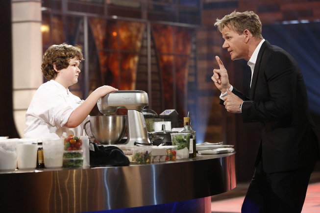 `MasterChef Junior`: Pictured, from left, contestant Alexander Weiss listens to judge Gordon Ramsay in part two of the two-part season finale episode Friday on FOX. (FOX photo by Greg Gayne)