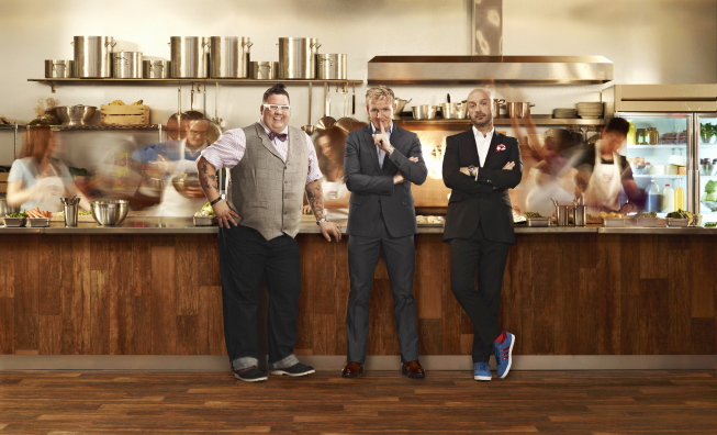 `MasterChef`: Award-winning chef Gordon Ramsay (center), restaurateur Joe Bastianich (right) and acclaimed chef Graham Elliot (left) return for season four of `MasterChef` with a two-hour season premiere on Wednesday, May 22 (8 p.m.), on FOX. (FOX photo by Matt Hoyle; copyright FOX)