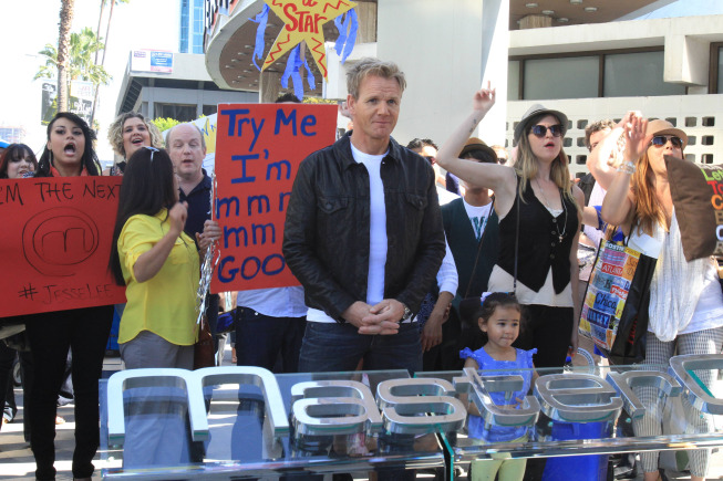 `MasterChef`: In Hollywood, Gordon Ramsay welcomed auditioners for the new season. (FOX photo by Carin Baer)