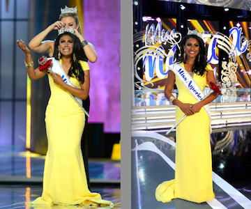 The 2014 Miss America Competition: Shown left, Miss America 2014 Nina Davuluri is crowned by Miss America 2013 Mallory Hagan live on the ABC telecast. Davuluri is shown at right, too. (ABC photos by Ida Mae Astute)