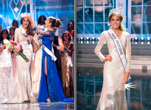 Miss Universe 2013: Pictured, from left: Gabriela Isler, Miss Universe Venezuela 2013, is crowned the winner by Olivia Culpo, Miss Universe 2012 in Moscow, Russia. She then posed for photos after the event. (NBC photos by Patrick Prather/Miss Universe Organization)