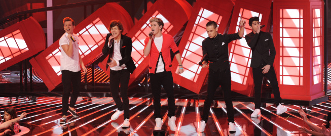 Pictured, One Direction performs live on `The X Factor` on FOX. (photo by Ray Mickshaw/FOX)