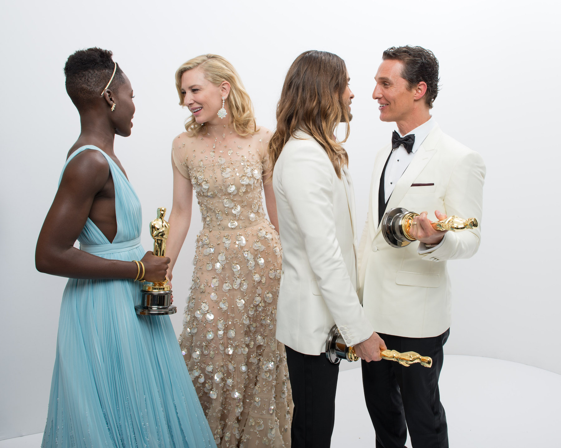 2014 Academy Awards ceremony: Oscar winners Lupita Nyong'o for Actress in a Supporting Role for her work in `12 Years a Slave`, Cate Blanchett for Actress in a Leading Role for her role in `Blue Jasmine`, Jared Leto for Performance by an Actor in a Supporting Role for his role in `Dallas Buyers Club` and Matthew MacConaughey for Performance by an Actor in a Leading Rule for his role in `Dallas Buyers Club`, pose backstage with their Oscars. (photo by Todd Wawrychuk/©A.M.P.A.S.)