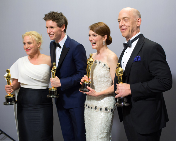 Academy Awards: Pictured, from left: Patricia Arquette, Oscar winner for Best Actress in a Supporting Role for work on `Boyhood`; Eddie Redmayne, Oscar winner for Best Actor in a Leading Role for work on `The Theory of Everything`; Julianne Moore, Oscar winner for Best Actress in a Leading Role for work on `Still Alice`; and J.K. Simmons, Oscar winner for Best Actor in a Supporting Role for work on `Whiplash.` They're posed backstage during the live ABC telecast of the 87th Oscars at the Dolby Theatre in Hollywood Sunday. (Photo by Debby Coleman/©A.M.P.A.S.)