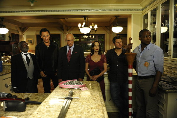 `Psych` `100 Clues`: Pictured from left is Garrett Morris as Clizby, Steve Valentine as Billy Lipps, Christopher Lloyd as Martin, Lesley Ann Warren as Leslie, James Roday as Shawn Spencer and Dulé Hill as Gus. (photo by Alan Zenuk/USA Network)
