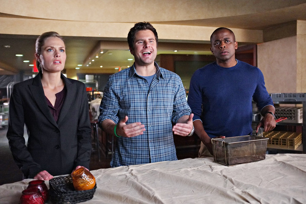 `Psych`: Pictured, from left: Maggie Lawson as Juliet O'Hara, James Roday as Shawn Spencer and Dulé Hill as Gus Guster. (USA Network photo by Alan Zenuk)