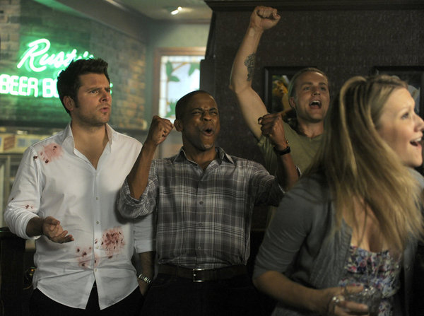James Roday as Shawn Spencer and Dule Hill as Burton `Gus` Guster on `Psych.` (USA Network photo by Alan Zenuk)