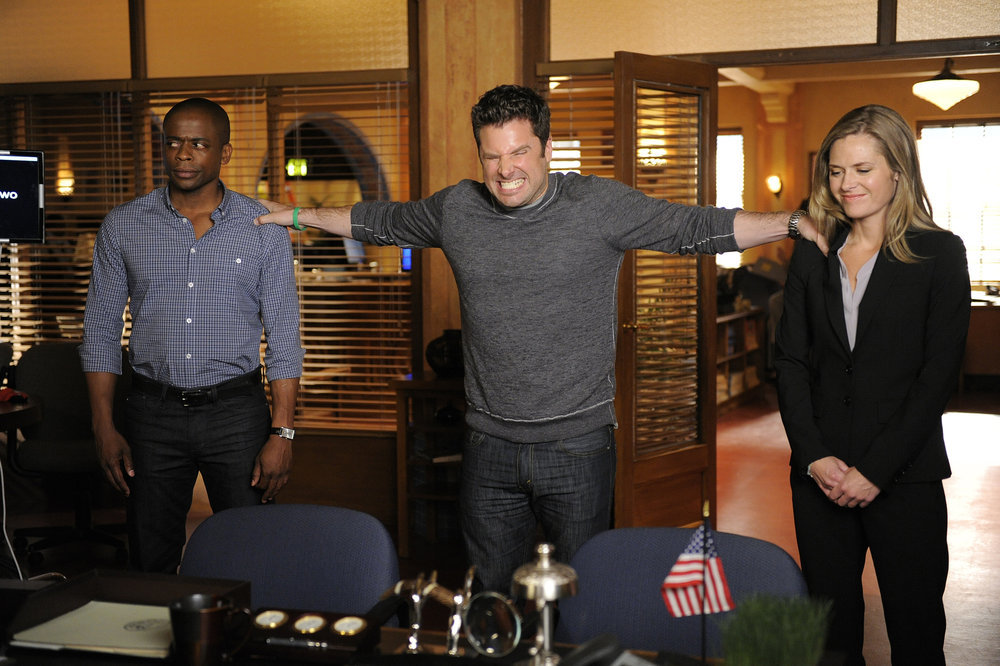 `Psych`: Pictured, from left, are Dulé Hill as Gus, James Roday as Shawn, and Maggie Lawson as Juliet. (USA Network photo by Alan Zenuk)