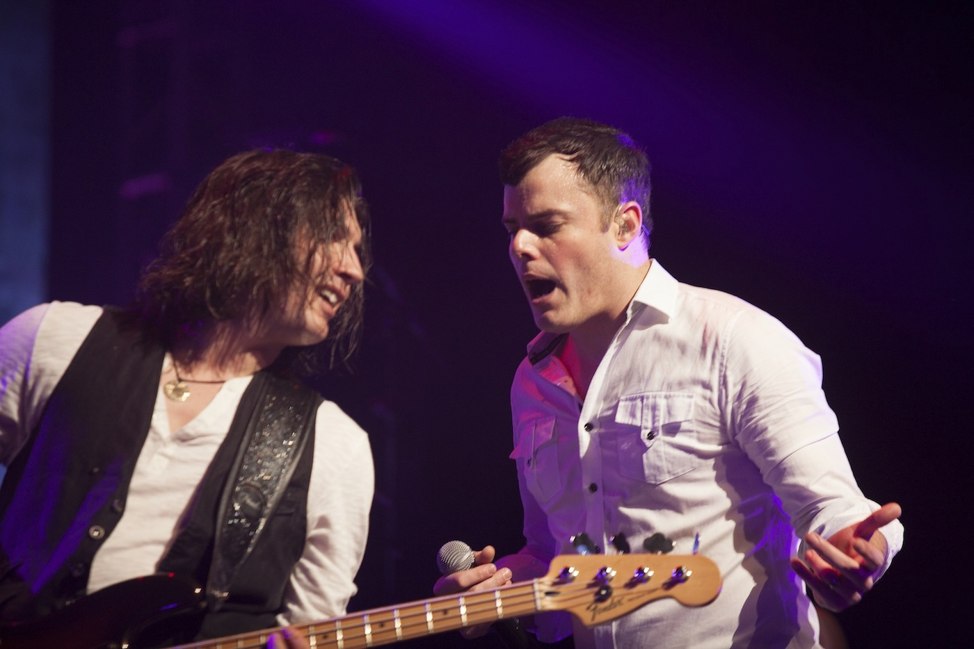 The Queen Extravaganza: Marc Martel sings next to bassist Francois-Olivier Doyon. (photo by Alexandre Deslauriers)