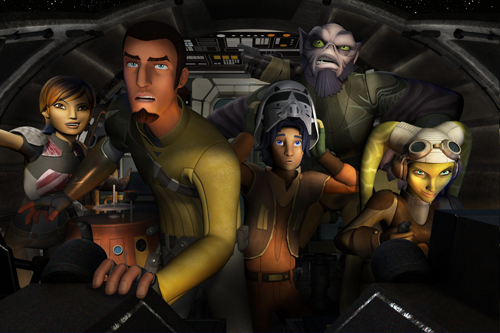 `Star Wars Rebels`: Sabine, Chopper, Kanan, Ezra, Zeb and Hera on the Ghost. `Star Wars Rebels` is scheduled to premiere in October as a one-hour special telecast on Disney Channel, and will be followed by a series on Disney XD channels around the world. (Lucasfilm image)