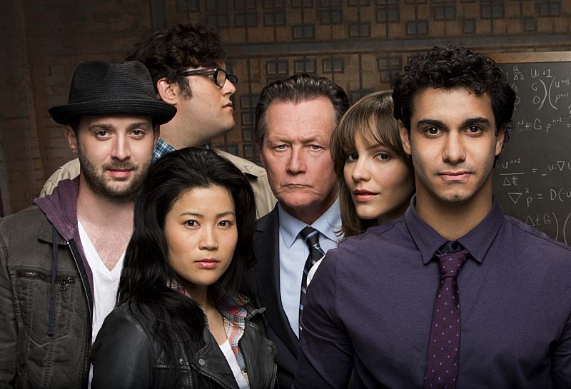 `Scorpion`: Pictured are Robert Patrick as Cabe Gallo, Jadyn Wong as Happy Quinn, Eddie Kaye Thomas as Toby Curtis, Elyes Gabel as Walter O'Brien, Ari Stidham as Sylvester Dodd and Katharine McPhee as Paige Dineen. (CBS photo by Robert Voets)