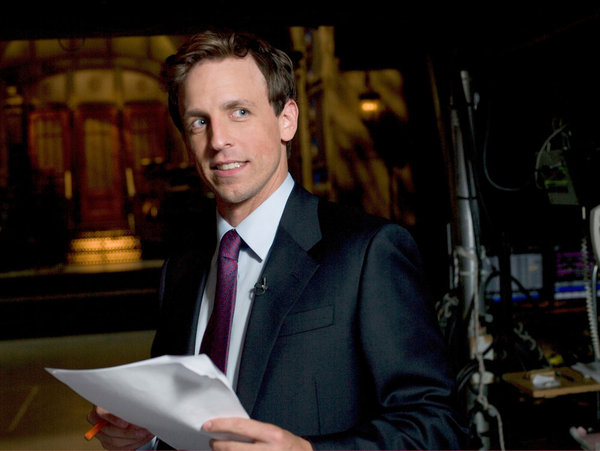 Seth Meyers on the `Saturday Night Live` set. (NBC photo by Dana Edelson)
