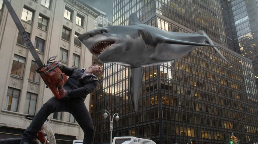 """Sharknado 2: The Second One"": Ian Ziering takes action as Fin Shepard. (NBC photo by Will Hart)"