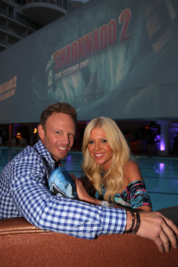 "Pictured at the ""Sharknado 2"" screening party are Tara Reid and Ian Ziering. (NBC photo by Chris Haston)"