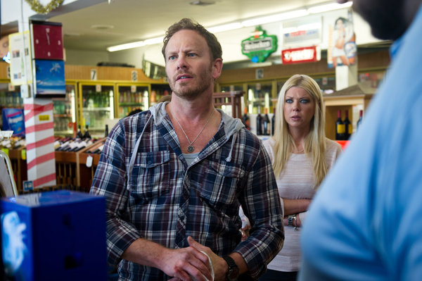 Ian Ziering as Fin and Tara Reid as April in the original `Sharknado.` (Syfy photo)