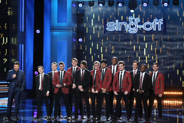 `The Sing-Off`: Pictured, from left, is host Nick Lachey with singers Dan McNeill, Austin Lyons, Augie Phillips, Jonathan Amaro-Barron, Ted Moock, William Woodard, Nikhil Ramaprasad, Hollis Cuffie, James McHugh, Cameron David, Jamal Marcelin and Justin Riele. (NBC photo by Evans Vestal Ward)