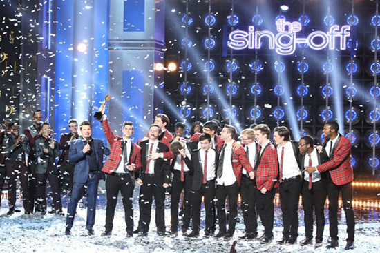 Melodores celebrates winning `The Sing-Off.` (NBC photo)