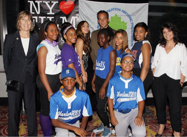 Pictured, from left: New York State Parks Commissioner Rose Harvey, `Teenage Mutant Ninja Turtles` actors Megan Fox and Will Arnett, New York's Gigi Semone, and youth from Harlem RBI in front.