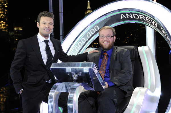 `The Million Second Quiz`: Ryan Seacrest, left, with winner Andrew Kravis. (NBC photo by Virginia Sherwood)