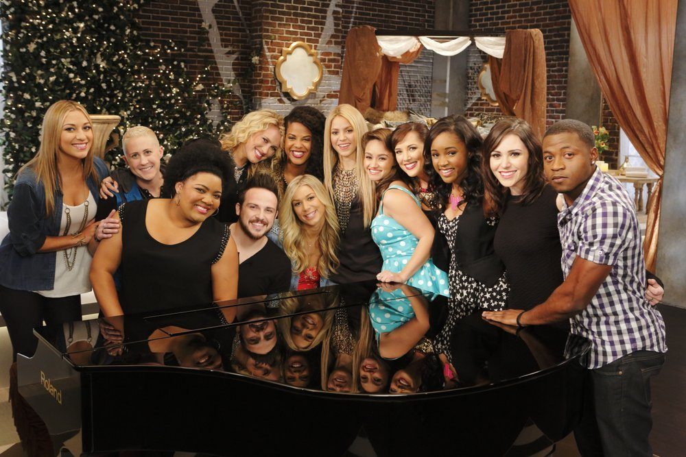 Pictured, from left: Clarissa Serna, Kristen Merlin, Cierra Mickens, Dani Moz, Jeremy Briggs, Musicbox / Ayesha Brooks, Lindsay Bruce, Shakira, Ddendyl Hoyt, Emily B, Deja Hall, Lindsay Pagano and Deshawn Washington. (NBC photo by Trae Patton)