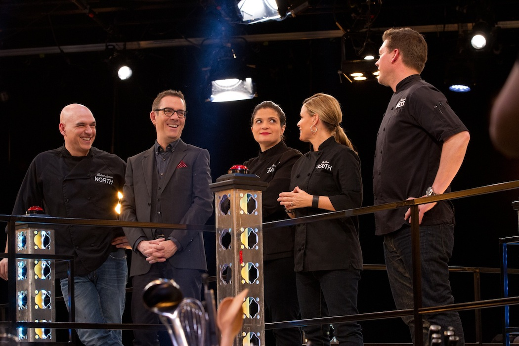Host Ted Allen with Mentors Michael Symon, Alex Guarnaschelli, Cat Cora and Tyler Florence. (Food Network photo)