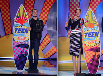 `Teen Choice 2014`: Josh Hutcherson accepts the Best Actor: Sci-Fi/Fantasy award (left) and Shailene Woodley accepts the Best Actress: Action award at the historic Shrine Auditorium at `Teen Choice 2014` on FOX. (photo by Phil McCarten/FOX)