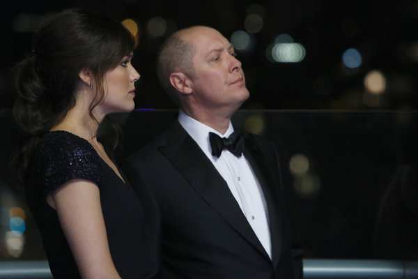 `The Blacklist`: Megan Boone stars as Elizabeth Keen, and James Spader stars as Raymond `Red` Reddington. The show airs Monday at 10 p.m. (NBC photo by Will Hart)