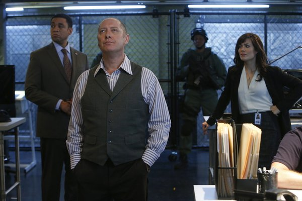 `The Blacklist: Pictured, from left: Harry Lennix as Harold Cooper, James Spader as Raymond `Red` Reddington and Megan Boone as Elizabeth Keen. (NBC photo by Will Hart)
