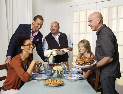 `The Chew`: Pictured are hosts Carla Hall, Clinton Kelly, Mario Batali, Daphne Oz and Michael Symon. The series airs weekdays at 1 p.m. on ABC. (photo by Craig Sjodin/ABC)