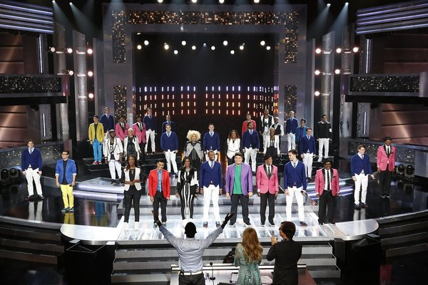 `The Sing-Off`: Pictured, from left: acoUstiKats, The Filmharmonic, Ten, Streetcorner Renaissance, Shawn Stockman, Jewel and Ben Folds. `The Sing-Off` airs tonight at 10 p.m. on NBC. (photo by Greg Gayne/NBC)