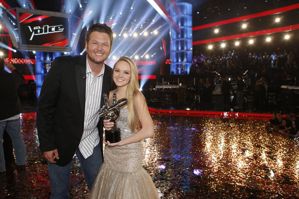 `The Voice`: Blake Shelton poses with the season four winner, Danielle Bradbery. (NBC photo by Trae Patton)