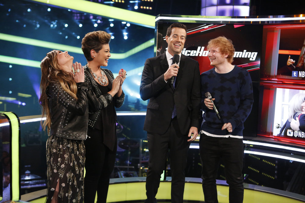 `The Voice`: Pictured, from left, are alums Jacquie Lee and Tessanne Chin with host Carson Daly and finale performer Ed Sheeran. (NBC photo by Trae Patton)