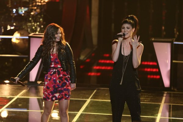 """The Voice"": Jacquie Lee, left, does ""Battle"" with Briana Cuoco. (NBC photo by Justin Lubin)"