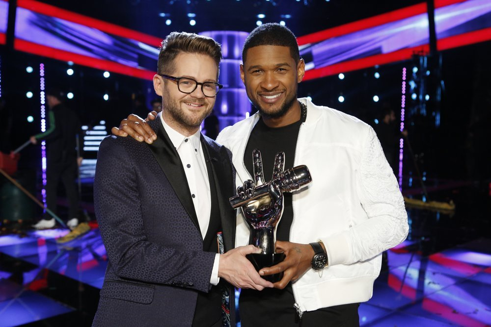"""The Voice"": Josh Kaufman and Usher. (NBC photo)"