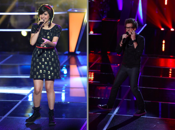 "Juhi Pathak and Will Champlin on ""The Voice."" (NBC photos by Justin Lubin)"