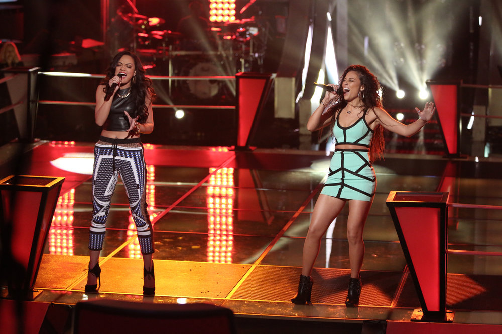 `The Voice`: Brittnee Camelle, left, does `Battle` with Melissa Jimenez. (NBC photo by Tyler Golden)