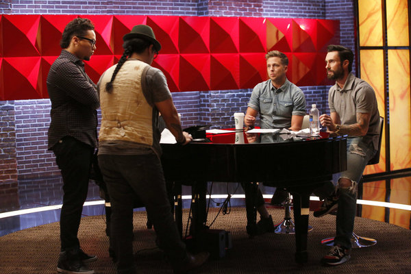 `The Voice`: Earlier this season, Team Adam's  Preston Pohl, front, left, and Barry Black were mentored by Ryan Tedder, left, and Adam Levine. (NBC photo by Trae Patton)