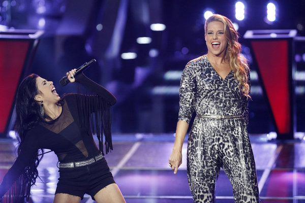 `The Voice` `Battle Rounds`: Pictured: Amy Whitcomb, right, works with Agina Alvarez. (NBC photo by Trae Patton)