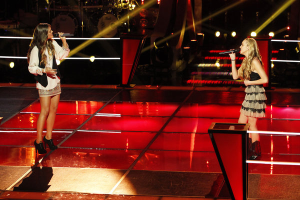 `The Voice`: Caroline Glaser (left) battles Danielle Bradbery. (NBC photo by Trae Patton)