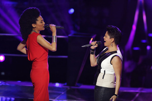 `The Voice`: Judith Hill, left, and Karina Iglesias compete in an epic battle. (NBC photo by Trae Patton)