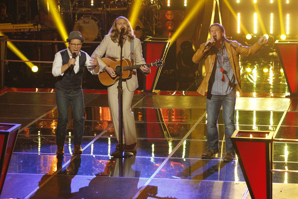 """The Voice"": Midas Whale, left, duets with Patrick Dodd. (NBC photo by Trae Patton)"